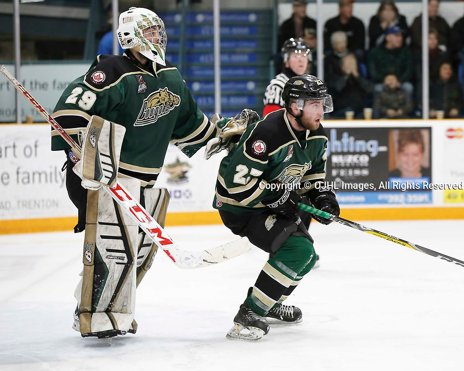 TRENTON, ON - MAR 31,  2017: Ontario Junior Hockey League, North East Conference Championship game between Trenton Golden Hawks and the Cobourg Cougars., Stefano Durante #29 and Brennan Roy #27 of the Cobourg Cougars during the play in the third period<br /> (Photo by Amy Deroche / OJHL Images)