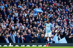 Raheem Sterling of Manchester City celebrates scoring a goal to make it 1-0 - Mandatory by-line: Robbie Stephenson/JMP - 17/04/2019 - FOOTBALL - Etihad Stadium - Manchester, England - Manchester City v Tottenham Hotspur - UEFA Champions League Quarter Final 2nd Leg
