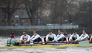 London, Great Britain, Cambridge, Listo in the opening stages of the BNY Mellon, 2016 University Men's Boat Race, Trail Eights Race.  Putney to Mortlake. ENGLAND. <br /> <br /> Sunday 13.12.2015<br /> <br /> [Mandatory Credit; Peter Spurrier/Intersport-images]<br /> <br /> CUBC Trial VIII's between FUERTE on Surrey and LISTO on Middlesex<br /> <br /> FUERTE, Bow, Peter Carey, 2, Patrick Elwood, 3, Alister Taylor, 4, Peter Rees, 5, Charlie Fisher, 6, Ali Abbasi, 7, Luke Juckett, Stroke, Lance Tredell, Cox, Ian Middleton<br /> <br /> LISTO, Bow, Piers Kasas, Felix Newman, 3, Sam Ringer, 4, Joe Carroll, 5, Clemens Auersperg, 6, Vincent Bertram, 7, Henry Hoffstot, Stroke, Ben Ruble, Cox, Hugo Ramambason