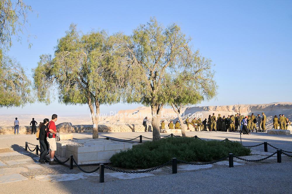 Israel, Negev, Kibbutz Sde Boker, the grave of David (right) and Pola (left) Ben Gurion The Desert in the background July 2008