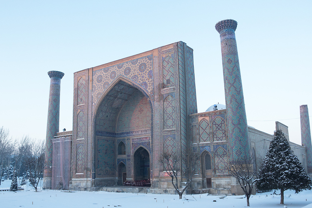 Snow on the Silk Road: early morning sunlight on Ulugbek Madrasah, Registan, Samarkand. Feb 5-6, 2014 saw a rare sustained snowy period in Samarkand, Uzbekistan, breaking record lows and resulting in school closures and power outages