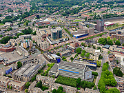 Nederland, Overijssel, Gemeente Almelo; 21–06-2020; Overzicht centrum Almelo met Haven Noordzijde en NS station. Voormalig Stadhuis in de voorgrond. <br /> Overview of the center of Almelo with harbor North side and railway station. Former Town Hall in the foreground.<br /> <br /> luchtfoto (toeslag op standaard tarieven);<br /> aerial photo (additional fee required)<br /> copyright © 2020 foto/photo Siebe Swart