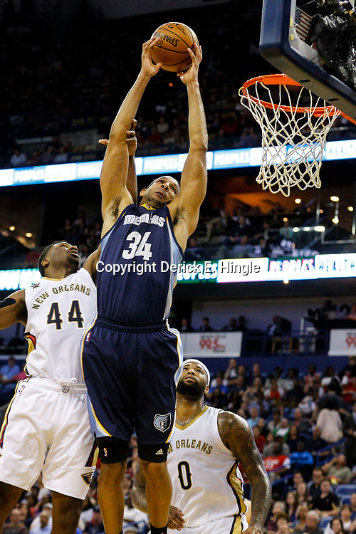 Mar 21, 2017; New Orleans, LA, USA; Memphis Grizzlies forward Brandan Wright (34) is fouled by New Orleans Pelicans forward Solomon Hill (44) during the second quarter of a game at the Smoothie King Center. Mandatory Credit: Derick E. Hingle-USA TODAY Sports