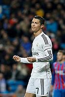 Real Madrid´s Cristiano Ronaldo complains during La Liga match at Santiago Bernabeu stadium in Madrid, Spain. March 15, 2015. (ALTERPHOTOS/Victor Blanco)