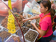 29 FEBRUARY 2008 -- BANGKOK, THAILAND:  A food vendor sells deep fried insects from her street cart on Soi Nana in Bangkok Thailand.    Photo by Jack Kurtz