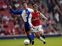 Photo: Olly Greenwood.<br />Arsenal v Blackburn Rovers. The FA Cup. 17/02/2007. Arsenal's Mathieu Flamini and Blackburn's Ryan Nelsen