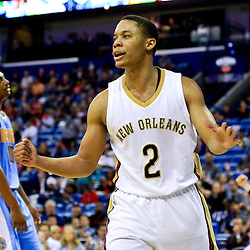 Mar 31, 2016; New Orleans, LA, USA; New Orleans Pelicans guard Tim Frazier (2) reacts after scoring against the Denver Nuggets during the second half of a game at the Smoothie King Center. The Pelicans defeated the Nuggets 101-95. Mandatory Credit: Derick E. Hingle-USA TODAY Sports