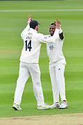 Wicket - Fidel Edwards of Hampshire celebrates taking the wicket of Brett D'Oliveira of Worcestershire with James Vince of Hampshire during the Specsavers County Champ Div 1 match between Hampshire County Cricket Club and Worcestershire County Cricket Club at the Ageas Bowl, Southampton, United Kingdom on 13 April 2018. Picture by Graham Hunt.