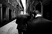 Matteo Salvini (C) and his body guard walking in the down town of Rome nearby the Italian Parliament on 14 June 2018. Christian Mantuano / OneShot