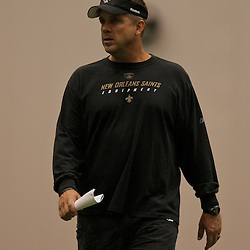 10 August 2009: Saints head coach Sean Payton on the field during New Orleans Saints training camp at the team's indoor practice facility in Metairie, Louisiana.