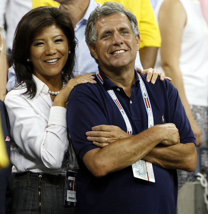 TV personality Julie Chen (L) and CBS President and CEO Les Moonves stand courtside as they watch the trophy ceremony after Justine Henin of Belgium defeated Svetlana Kuznetsova of Russia in the women's final match on the thirteenth day of the 2007 US Open tennis tournament in Flushing Meadows, New York, USA, 08 September 2007.