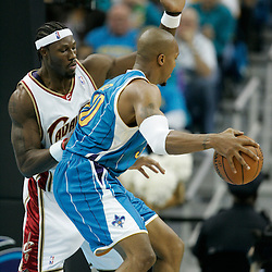 01 November 2008:  New Orleans Hornets forward David West (30) is defended by Cleveland Cavaliers center Ben Wallace during a 104-92 win by the New Orleans Hornets over the Cleveland Cavaliers at the New Orleans Arena in New Orleans, LA..
