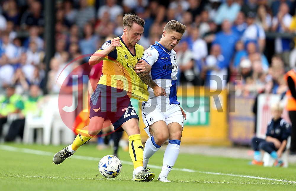 James Clarke of Bristol Rovers battles for possession with Sam Long of Oxford United - Mandatory by-line: Robbie Stephenson/JMP - 14/08/2016 - FOOTBALL - Memorial Stadium - Bristol, England - Bristol Rovers v Oxford United - Sky Bet League One