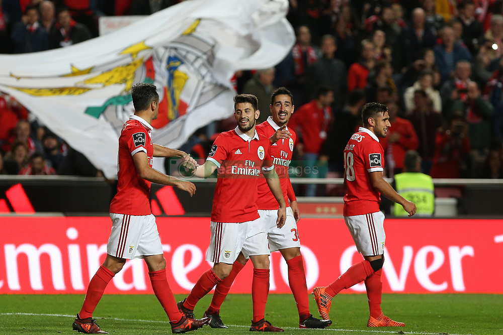 November 26, 2017 - Lisbon, Lisbon, Portugal - Benficas defender Andre Almeida from Portugal celebrating with is team mate after scoring a goal during the Premier League 2017/18 match between SL Benfica and FC Vitoria Setubal, at Luz Stadium in Lisbon on November 26, 2017. (Credit Image: © Dpi/NurPhoto via ZUMA Press)