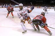 24.4.2013, Isometsän jäähalli, Pori..Jääkiekon SM-liiga 2012-13. Playoffsit, 6. loppuottelu, Ässät - Tappara.Dragan Umicevic (Tappara) v Shaun Heshka (Ässät).