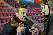 Forest Green Rovers manager, Mark Cooper being interviewed by the media before the match during the EFL Sky Bet League 2 match between Crewe Alexandra and Forest Green Rovers at Alexandra Stadium, Crewe, England on 20 March 2018. Picture by Shane Healey.