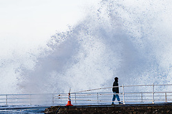 © London News Pictures. 29/12/2015 Aberystwyth, Wales, UK. At high tide this morning the sea swell in advance  of Storm Frank, the sixth named storm of the season,  brings huge waves to batter the harbour and promenade  at Aberystwyth on the Cardigan Bay coast, West Wales. Photo credit: Keith Morris/LNP