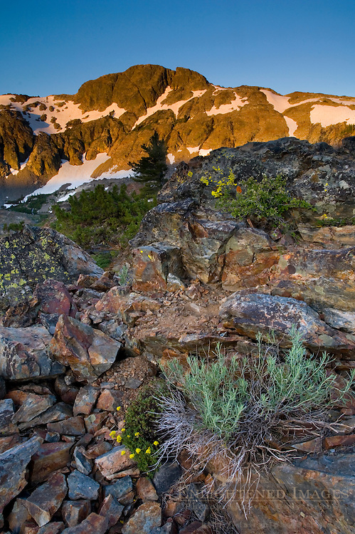 Alpenglow at sunrise on Cracked Crag, Desolation Wilderness, El Dorado National Forest, California