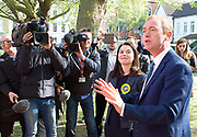 Tim Farron, leader of the Liberal Democrats &lsquo;parking Liberal Democrat tanks on the Conservative lawn&rsquo;<br /> <br /> Tim Farron joins Sarah Olney MP  in Richmond Park<br /> 19th April 2017 <br /> <br /> Richmond, Surrey, Great Britain <br /> <br />  <br /> <br /> Photograph by Elliott Franks <br /> Image licensed to Elliott Franks Photography Services