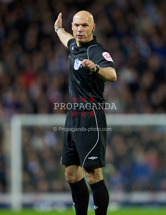 BLACKBURN, ENGLAND - Monday, April 2, 2012: Referee Howard Webb during the Premiership match between Blackburn Rovers and Manchester United at Ewood Park. (Pic by Vegard Grott/Propaganda)