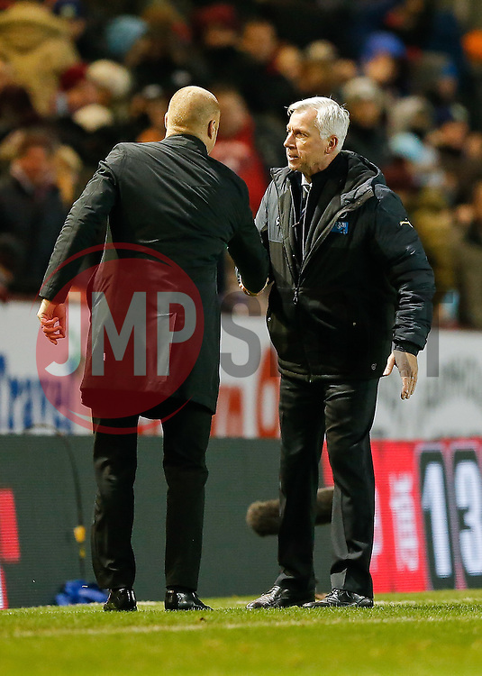 Burnley Manager Sean Dyche and Newcastle United Manager Alan Pardew shake hands after the match ends in a 1-1 draw - Photo mandatory by-line: Rogan Thomson/JMP - 07966 386802 - 02/12/2014 - SPORT - FOOTBALL - Burnley, England - Turf Moor Stadium - Burnley v Newcastle United - Barclays Premier League.