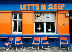 Exterior of typical budget hostel called Lette M Sleep in bohemian Prenzlauer Berg district of Berlin Germany 2009