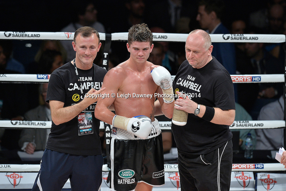 Luke Campbell and trainers pose for the press after defeating Krzysztof Szot in a Lightweight contest at the SSE Wembley Arena, London on the 20th September 2014. Sauerland Promotions. Credit: Leigh Dawney Photography.