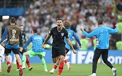 MOSCOW, July 11, 2018  Dejan Lovren (C) of Croatia celebrates victory after the 2018 FIFA World Cup semi-final match between England and Croatia in Moscow, Russia, July 11, 2018. Croatia won 2-1 and advanced to the final. (Credit Image: © Cao Can/Xinhua via ZUMA Wire)