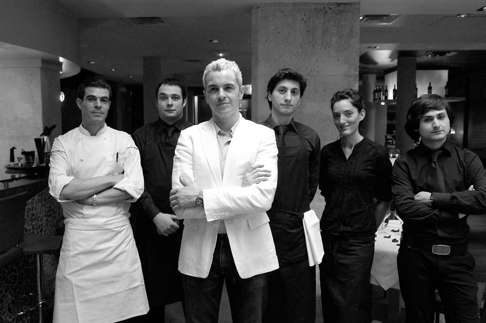 Antoine-Jacques Mery, Executive Chef of Deda Restaurant, and his team. Deda is one of the few Georgian restaurants in Paris..Paris, France. 19/06/2009..Photo © J.B. Russell