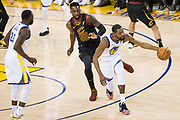 Golden State Warriors forward Kevin Durant (35) chases down a wild pass against the Cleveland Cavaliers during Game 1 of the NBA Finals at Oracle Arena in Oakland, Calif., on May 31, 2018. (Stan Olszewski/Special to S.F. Examiner)