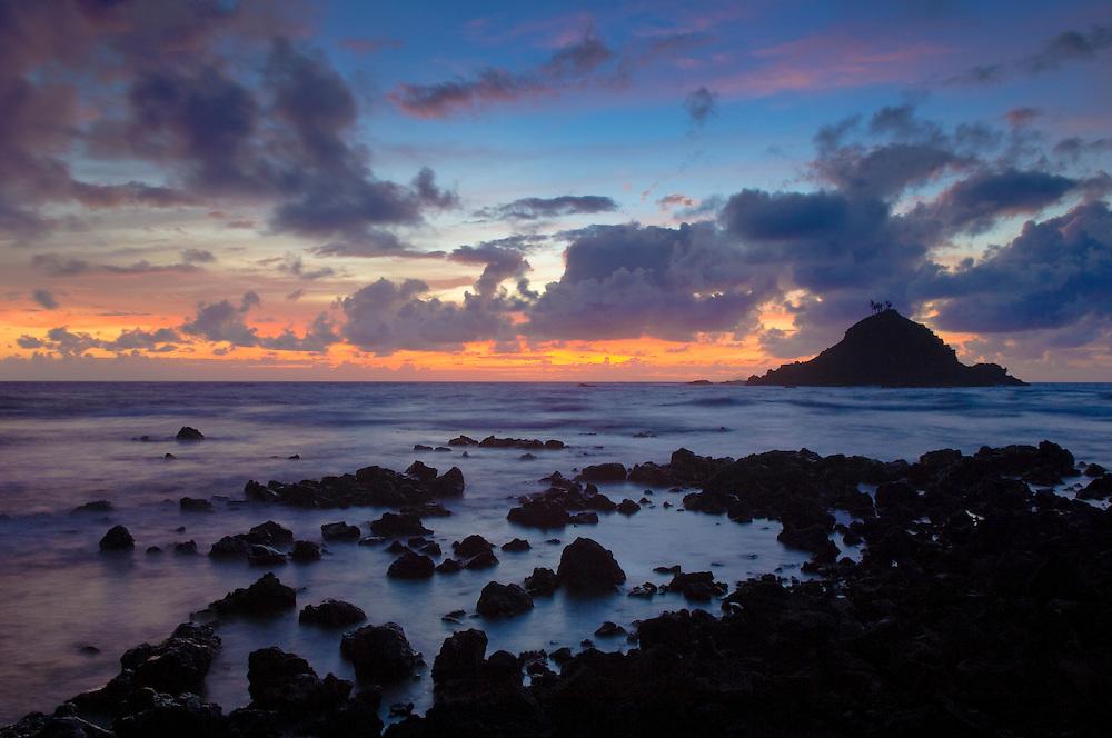 Sunrise and Alau Island, Hana, Maui, Hawaii.