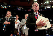 The Texas delegation during the pledge of alligiance..RNC, Madison Square Garden, NYC, NY USA.9/1/04.