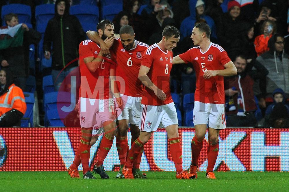 Joe Ledley of Wales celebrates his goal which makes it 1-1 - Mandatory byline: Dougie Allward/JMP - 07966 386802 - 13/11/2015 - FOOTBALL - Cardiff City Stadium - Cardiff, Wales - Wales v Netherlands - International Friendly