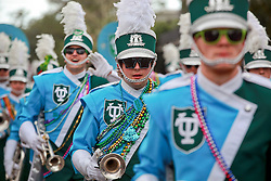 02 March 2014. New Orleans, Louisiana.<br /> Mardi Gras. The Tulane Band at the Krewe of Thoth parade in Uptown New Orleans.<br /> Photo; Charlie Varley/varleypix.com