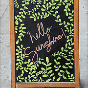 Blackboard sign &quot;hello  Sunshine&quot;. <br /> <br /> The YinOva Center for Acupunchure, Herbs, Massage, Cupping, Rolfing &amp; Structural Integration.