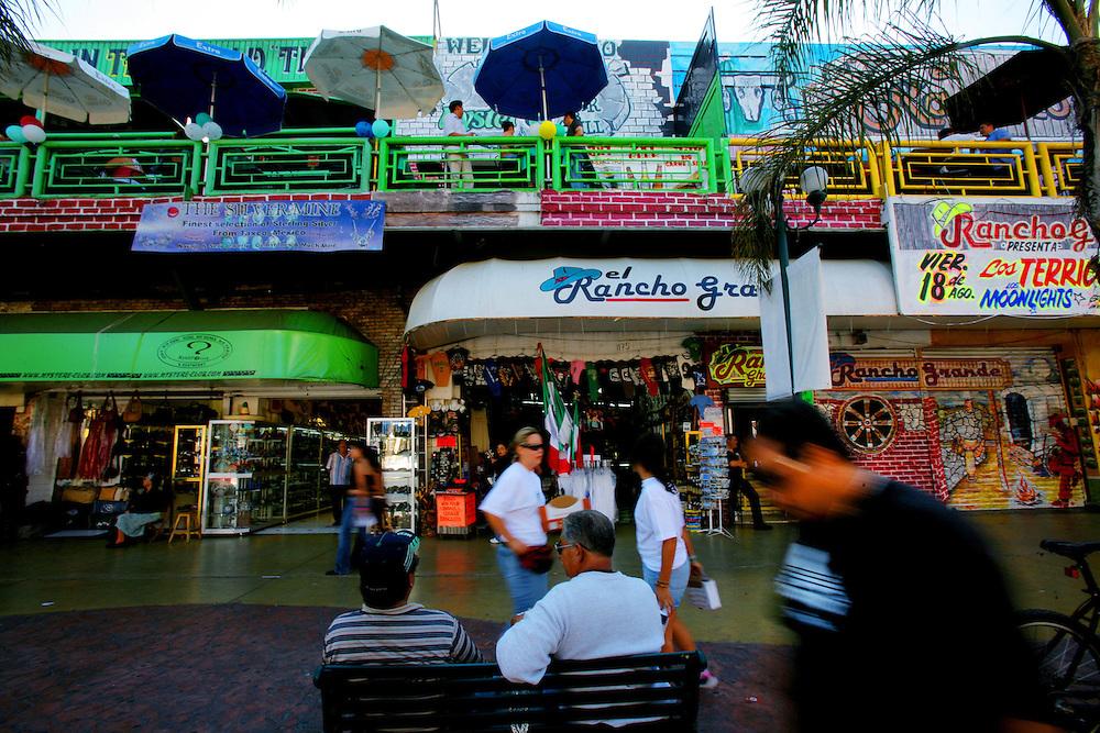 TIJUANA, MEXICO:  View of tourists along Ave. Revolution in Tijuana, Mexico.