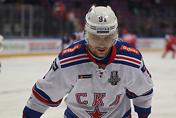 March 28, 2019 - Moscow, Russia - March 28, 2019. Russian Federation. Moscow. Palace of Sports CSKA. KHL Playoffs Gagarin Cup. Finals of the Western Conference Gagarin Cup KHL. HC CSKA - HC SKA. The first match. SKA Hockey Club Player Maxim Karpov (Credit Image: © Russian Look via ZUMA Wire)