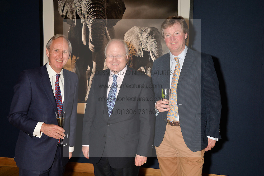 Left to right, CHARLIE MEYHEW, the HON.STEPHEN WATSON Chairman of the Trustees of Tusk and REGINALD HEYWORTH at the Christie's Conservation Lectures in aid of Tusk held atChristie's, 8 King Street, London on 30th April 2014.