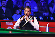 Ricky Walden sits ready for his next shot during the Snooker Players Championship Final at EventCity, Manchester, United Kingdom on 27 March 2016. Photo by Pete Burns.