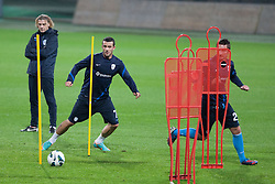 Safet Hadzic, Mirnes Sisic during official training session of Slovenian National football team before World Cup Qualifications match against Cyprus on October 10, 2012 in Stadium Ljudski vrt, Maribor, Slovenia. (Photo By Gregor Krajncic / Sportida)