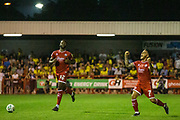 Final whistle blows and Reece Grego-Cox (Crawley Town) celebrates the win for Crawley during the EFL Cup match between Crawley Town and Norwich City at The People's Pension Stadium, Crawley, England on 27 August 2019.