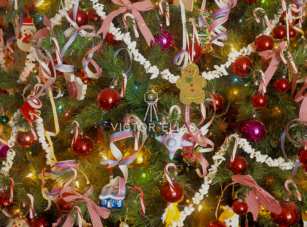 Christmas decorations in private home.<br /> Mexico city. Mexico.