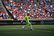 FC Cincinnati goalkeeper Spencer Richey (18) clears the ball from his own goal during a MLS soccer game, Sunday, July 21, 2019, against the New England Revolution in Cincinnati, OH. The Revolution defeated FC Cincinnati 2-0.(Jason Whitman/Image of Sport)