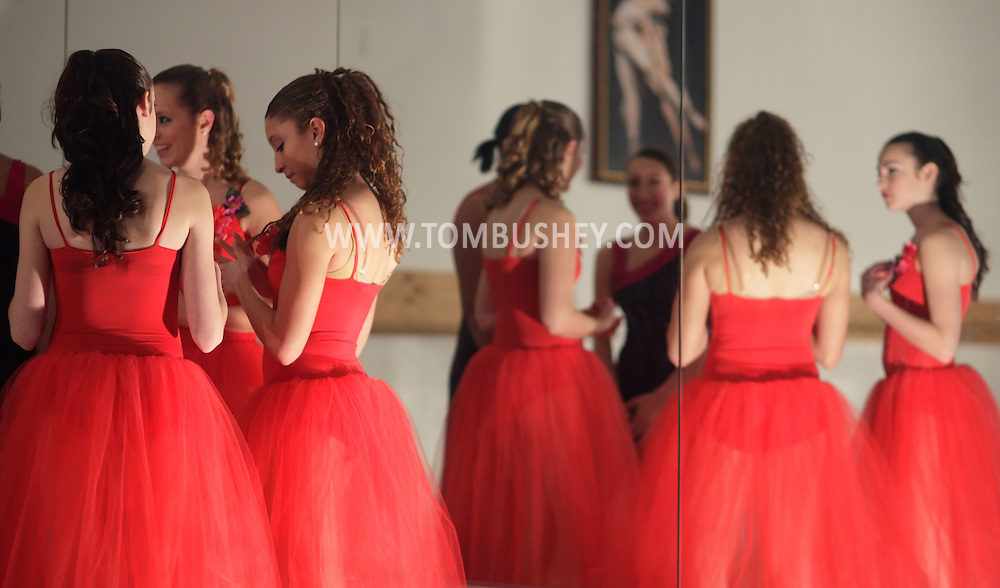 Pine Bush, New York - Dancers talk before performing at the Mitchell Performing Arts Center during the Pine Bush Festival of Lights on Dec. 4, 2010.