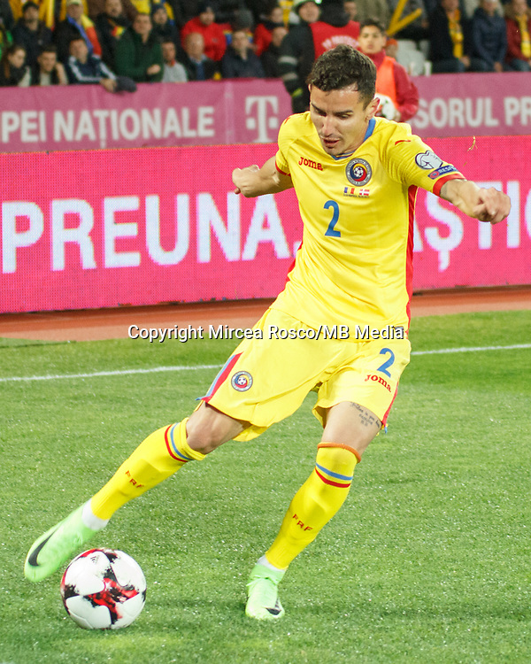 CLUJ-NAPOCA, ROMANIA, MARCH 26: Romania's national soccer player Romario Benzar controls the ball during the 2018 FIFA World Cup qualifier soccer game between Romania and Denmark, on March 26, at Cluj Arena Stadium, in Cluj-Napoca, Romania. (Photo by Mircea Rosca/Getty Images)full lenght,, full lenght,
