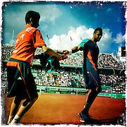 Roland Garros. Paris, France. May 27th 2012.French player Jo-Wilfried TSONGA against Andrey Kuznetsov...
