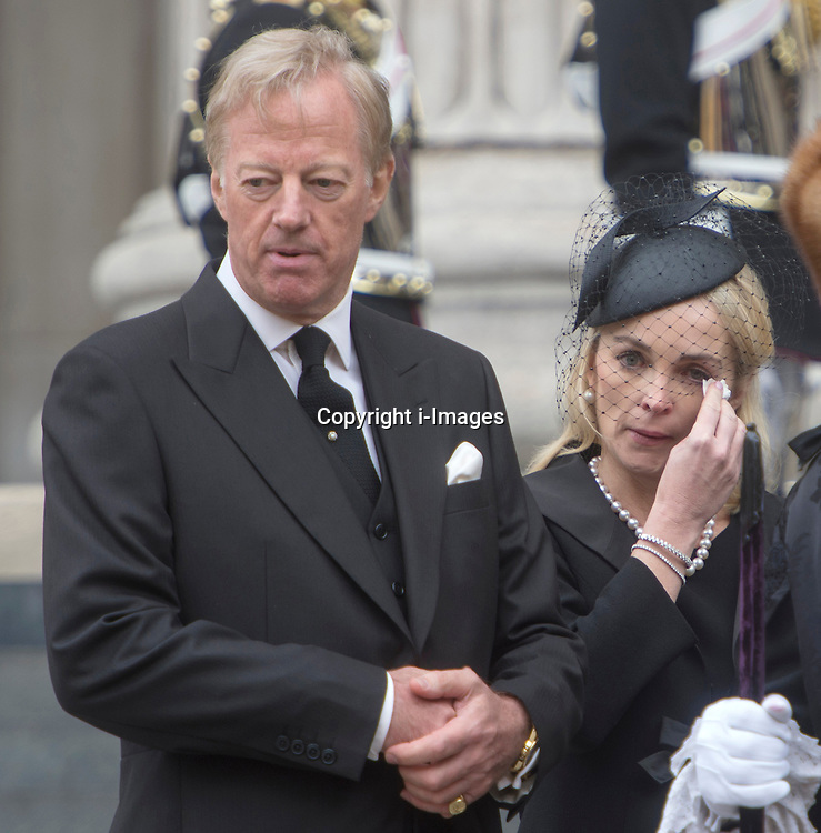 Lady Thatcher's son Mark with his wife Sarah, St Paul's Cathedral, London, UK, on Wednesday 17 April, 2013, Thursday 18 April, 2013 Photo by: i-Images