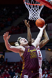 NORMAL, IL - January 19: Cameron Krutwig and Keith Fisher III under the hoop during a college basketball game between the ISU Redbirds and the Loyola University Chicago Ramblers on January 19 2020 at Redbird Arena in Normal, IL. (Photo by Alan Look)
