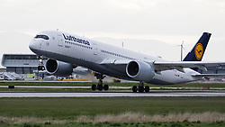 May 2, 2019 - Richmond, British Columbia, Canada - A Lufthansa Airbus A350-900 (D-AIXC) extra wide body (XWB) jetliner takes off from Vancouver International Airport. (Credit Image: © Bayne Stanley/ZUMA Wire)