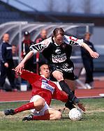 16.05.1999, Pori, Finland..Veikkausliiga / Finnish League.FC Jazz v FC lahti.Jarkko Koskinen (Lahti) v Ville Lehtinen (Jazz).©JUHA TAMMINEN